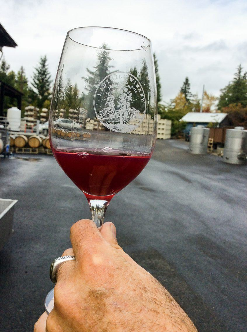 First barrel sample of custom crush 2016 Three Feathers Pinot Noir from barrels at Lady Hill Winery, Willamette Valley, Oregon, USA.
