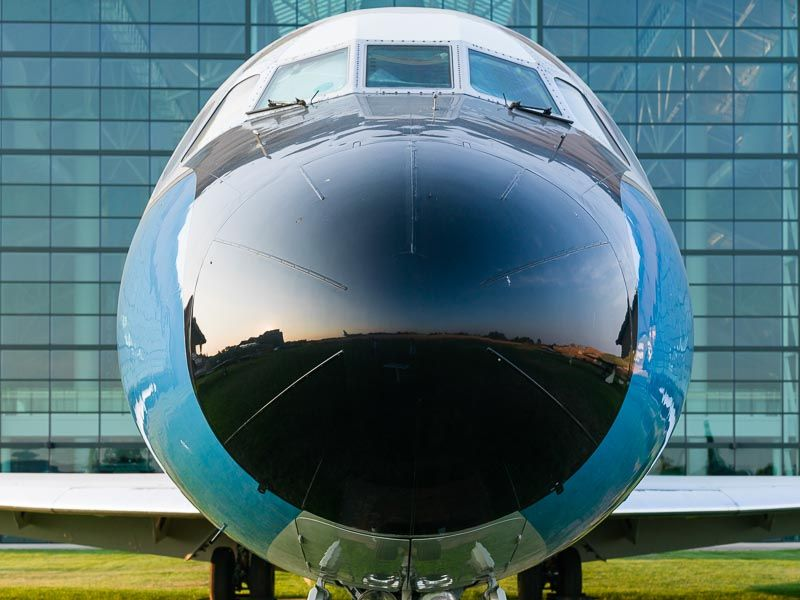 Close-up on the nose of a McDonnell Douglas VC-9C USA Air Force presidential airplane that served chief executives and their staffs from 1975 to 2005, Evergreen Aviation & Space Museum, McMinnville, Oregon.