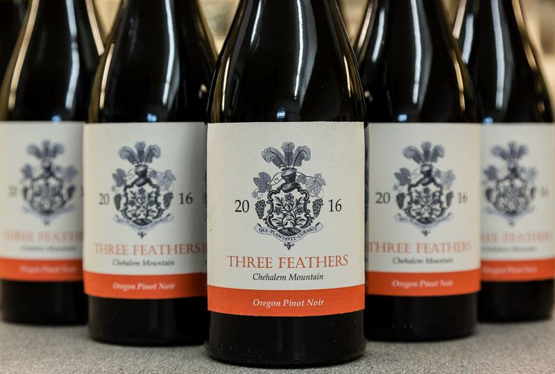 Sample wine bottles 2016 Pinot Noir vintage