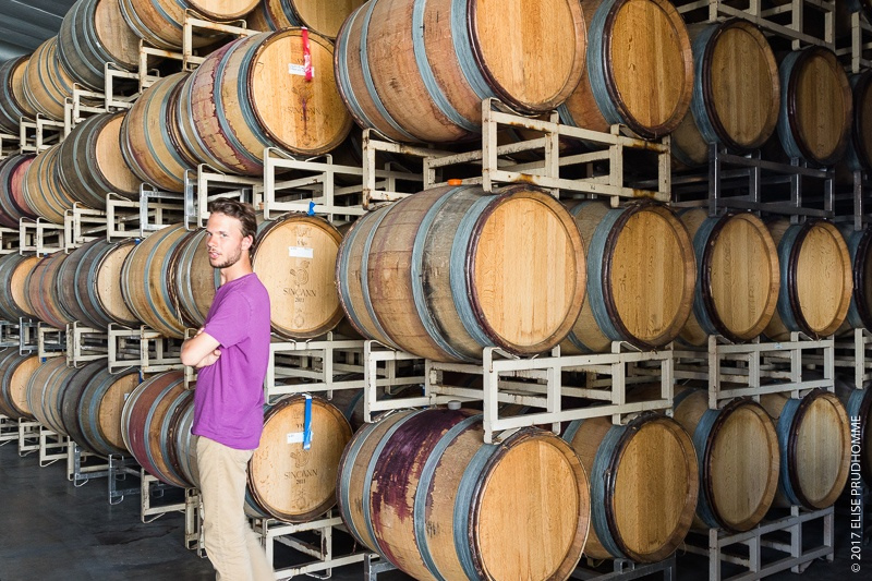 Colin Prudhomme in the barrel storage room of Lady Hill Winery