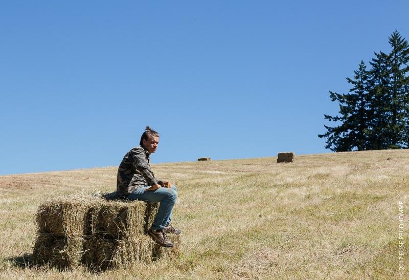 Three Feathers Estate & Vineyard haymaking  member taking a quick break in between bucking bales.