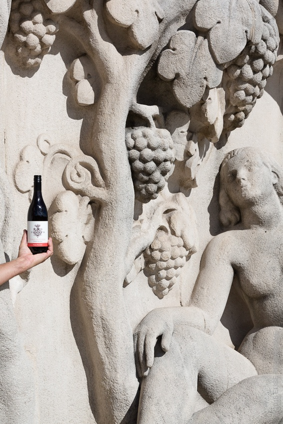 "Our first vintage Three Feathers 2016 Pinot Noir poses aptly in front of the sculpture ""La Jeunesse, 1937"" (""Youth, 1937"") located in the gardens of Trocadero below the Palais de Chaillot. This work was sculpted in 1937 by Pierre Poisson for the Parisian Universal Exhibition."