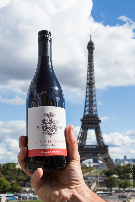 Three Feathers Pinot Noir first vintage visits the Eiffel Tower in Paris, France.