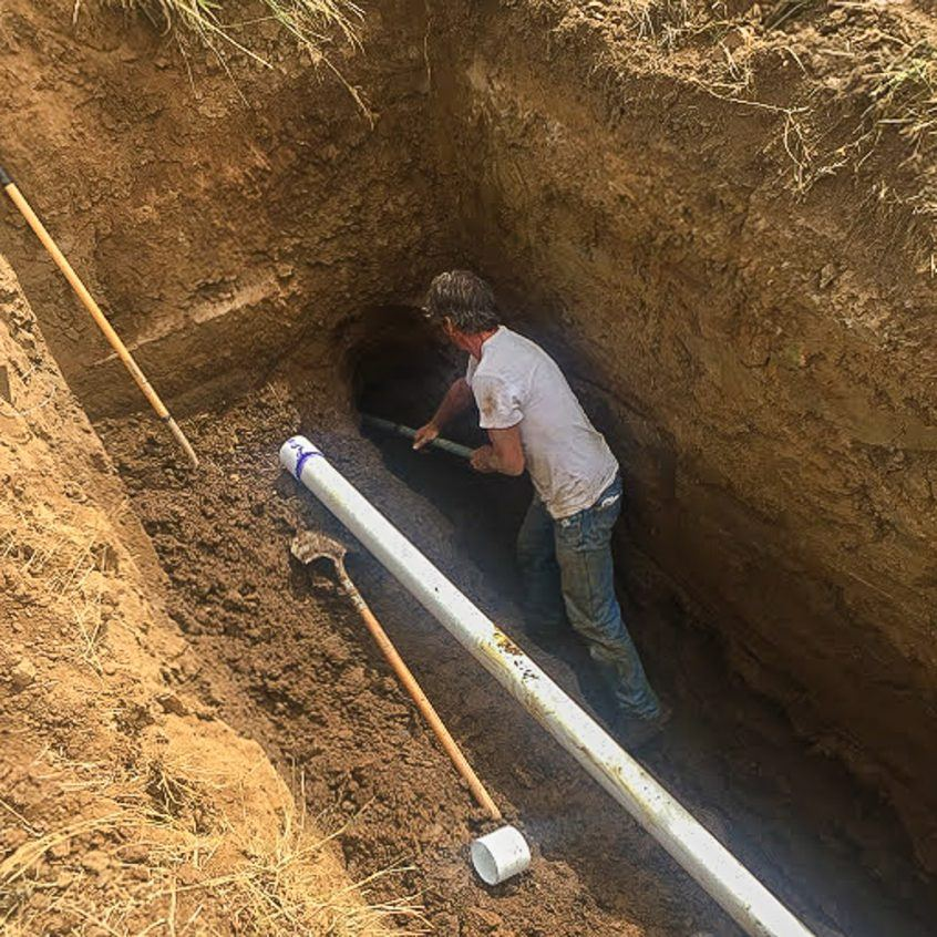 Irrigation repair on Three Feathers Estate & Vineyard