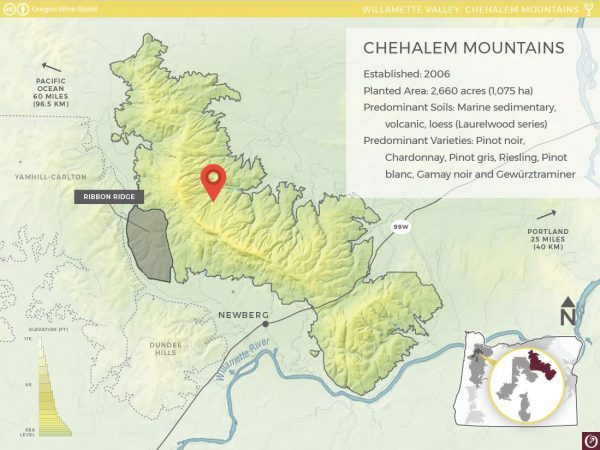 Map indicating the position of Three Feathers Estate & Vineyard in the Chehalem Mountain sub AVA region of Willamette Valley, Oregon, USA.