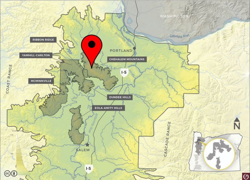 Map indicating the sub AVA regions of the Willamette Valley, Oregon, USA.