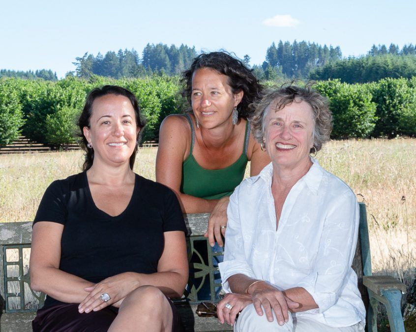 Christine (left), Cynthia (middle) and Elise (right) pose for a summer photoshoot in Three Feathers vineyard.