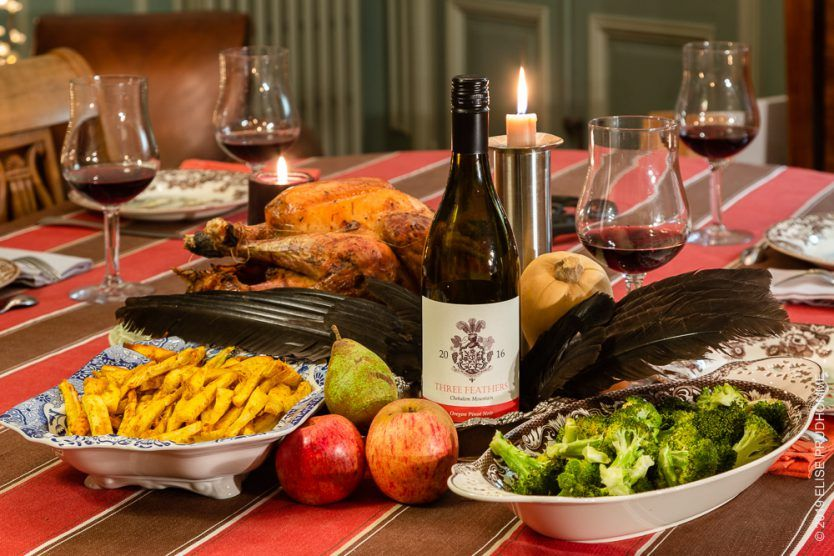 Season's Greetings 2018 from Three Feathers Estate & Vineyard.  Celebrating the New Year 2019 with a decorative table and Three Feathers Pinot Noir.