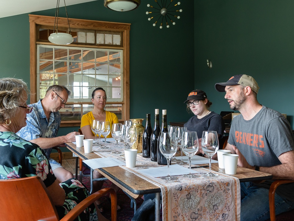 Tasting our 2017 Three Feathers Pinot Noir Wines, Chehalem Mountain AVA, Willamette Valley, Oregon.