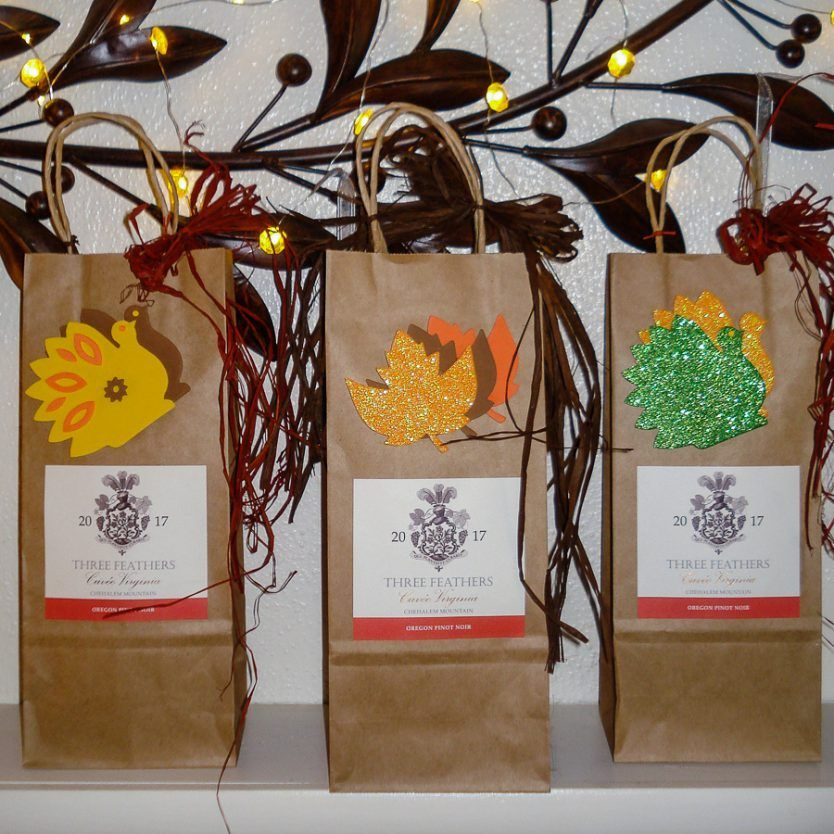 Three Feathers Hostess Gift Bag for the Holidays