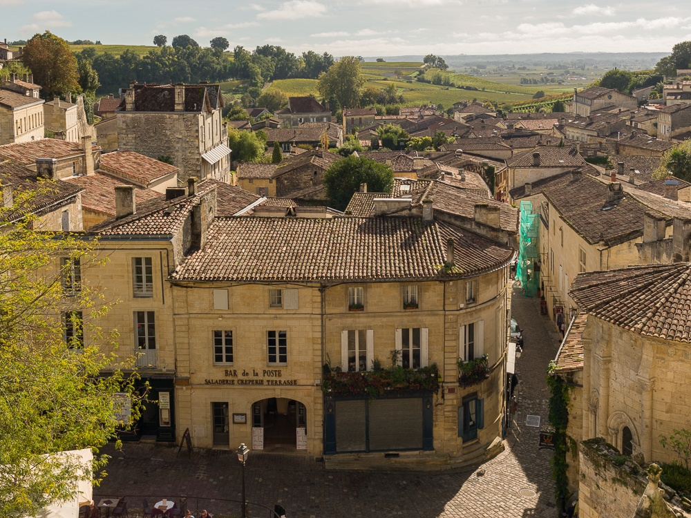 Place du Marche, in the town of Saint-Emilion, Gironde, France.