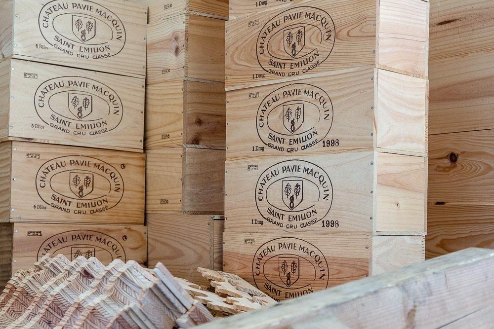 Wooden shipping boxes in stock for Wine Estate Château Pavie Ma
