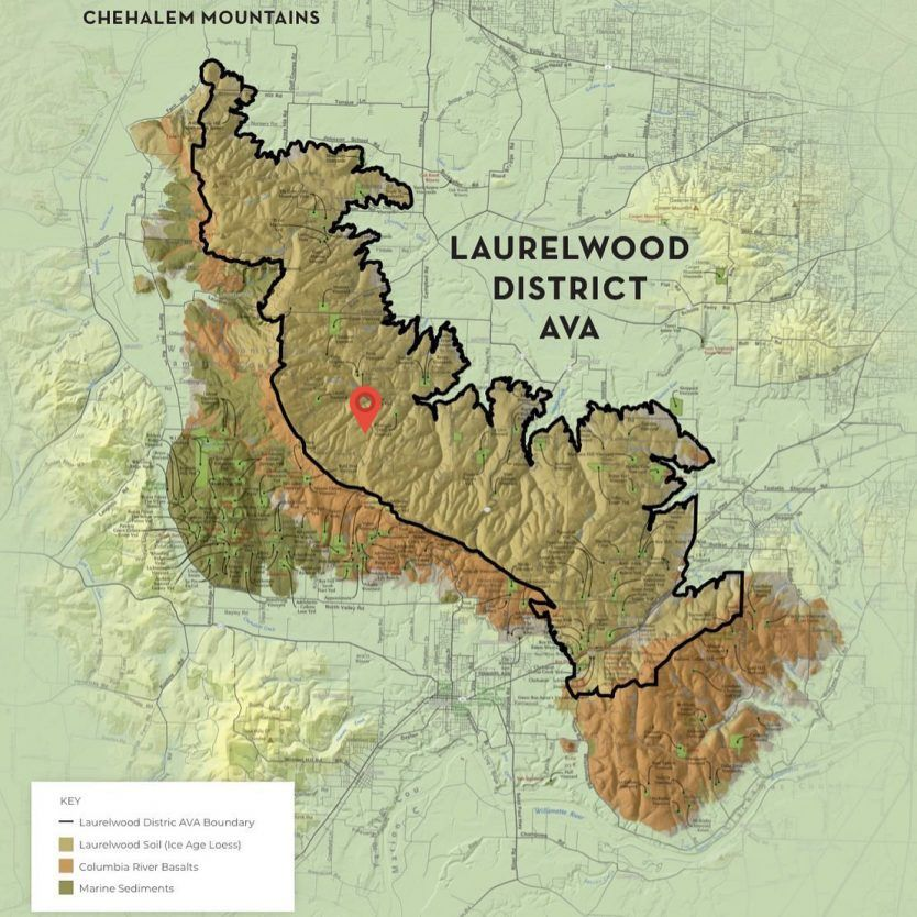 Newly created Laurelwood sub-ava in the Chehalem Mountains AVA of the Willamette Valley in Oregon, United States.