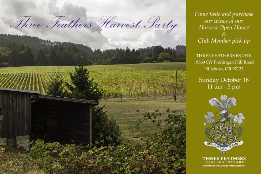 Three Feathers Estate & Vineyard 2020 Harvest Party invitation